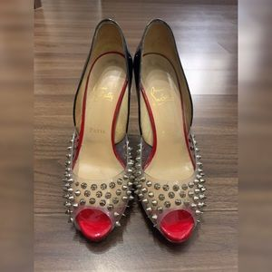 Christian Louboutin Black Red Engine Spike Pumps